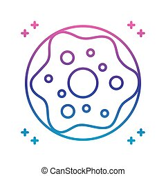 sweet donut icon, gradient line style