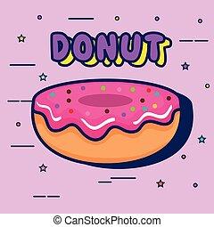 sweet donut pop art style