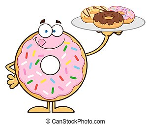 Sweet Donut Serving Donuts - Sweet Donut Cartoon Character...