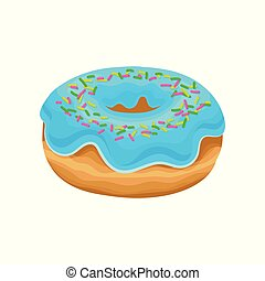 Sweet donut with blue glaze and multi-colored sprinkles. Delicious dessert. Flat vector design for bakery store or cafe menu