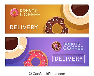 Sweet donut with coffee. Donut on table. Dinner on a donut at the coffee shop. Colored donuts with espresso.