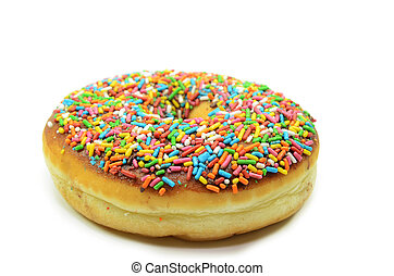 Sweet donut with rainbow candy sprinkles