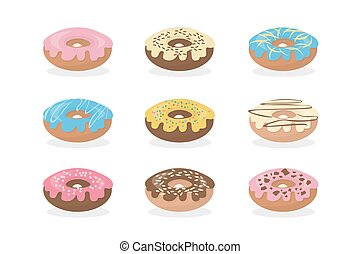 Sweet donuts set.