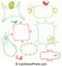 Sweet Doodle Frames with Birds and Bird Houses