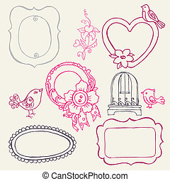 Sweet Doodle Frames with Birds and Flower Elements - in vector