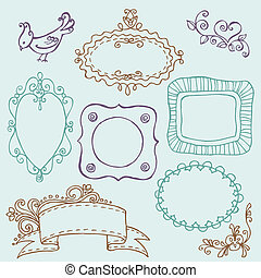 Sweet Doodle Frames with Birds and Flower Elements - in ...