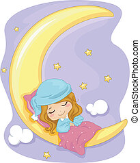 Sweet Dreams - Illustration Featuring a Girl Sleeping...