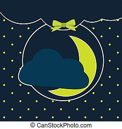 Sweet dreams and goo night. Vector background cute moon and...