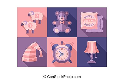 Sweet dreams icons set, sleep time elements, good night vector Illustration