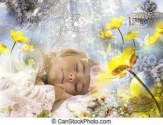 Sweet dreams of a little girl