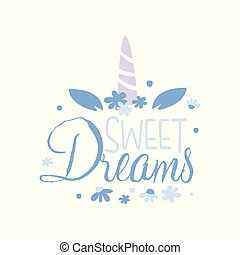Sweet Dreams, positive quote, hand wriiten lettering motivational slogan vector Illustration on a white background