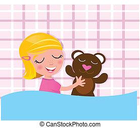 Sweet dreams: Sleeping little child with teddy bear