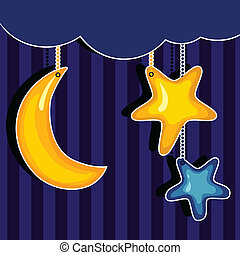 Sweet dreams. Vector background cute moon and stars.