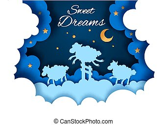 Sweet dreams vector illustration in paper art style