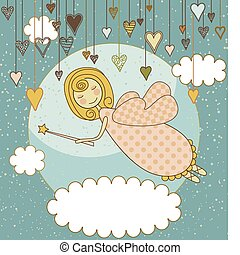 Sweet Fairy Card - A cute flying fairy with a wand