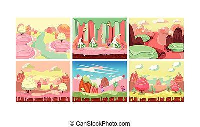 Sweet fantasy landscape set, candy land, elements for computer game interface vector Illustration on a white background