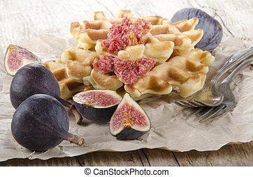 sweet fig and home baked waffle
