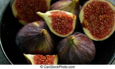 Sweet figs in bowl - From above shot of round bowl filled...