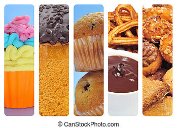 sweet food collage - a collage of of different pastries and...