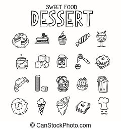Sweet food desert morning breakfast lunch or dinner kitchen doodle hand drawn sketch rough simple icons muffin, donut, cupcake, jam and other sweets