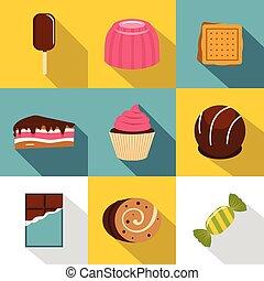 Sweet food icon set, flat style