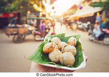 Sweet food on the street market