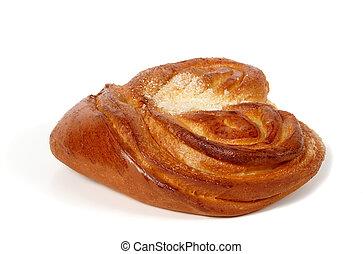 Sweet food: fresh roll glazed by sugar