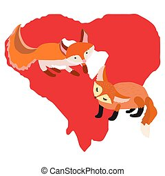 Sweet foxes illustration with red heart.