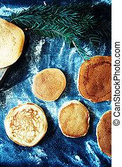 Sweet fresh golden Pancake with hon