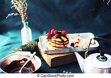 Sweet fresh poppy seed pancakes wit