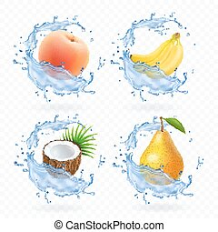 Sweet fruit. Banana, coconut, peach, pear and apricot fresh juice Realistic illustration. 3d vector icons set