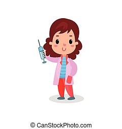 Sweet girl doctor in professional clothing holding syringe, kid playing doctor vector illustration