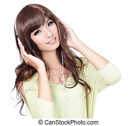Sweet girl happy listen music with smile face
