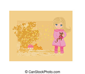 sweet girl in autumn park and her cat