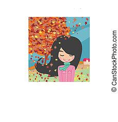 sweet girl in autumn