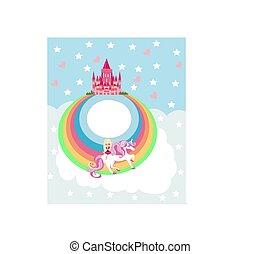 sweet girl on a unicorn flying on a rainbow