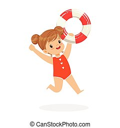 Sweet girl running with lifebuoy, kids summer vacation colorful character vector Illustration