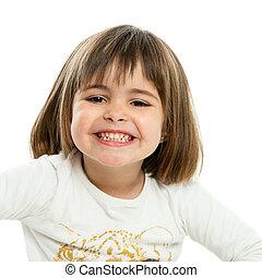 Sweet girl showing teeth.