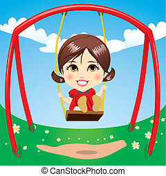Sweet Girl Swinging - Sweet girl having fun swinging on...
