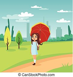 Sweet girl walking under red umbrella on a background of nature scenery concept cartoon vector Illustration