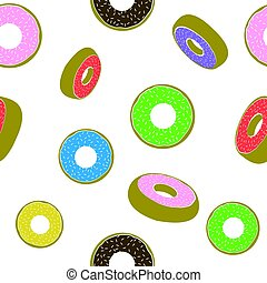 Sweet Glazed Colorful Donut Seamless Pattern. Fast Food Texture
