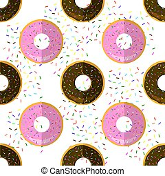 Sweet Glazed Colorful Donut Seamless Pattern on Sprinkles Background. Fast Food Texture