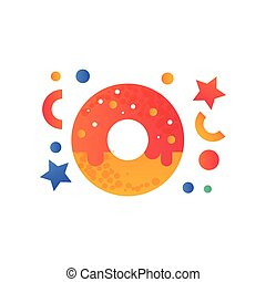 Sweet glazed donut, fast food dish vector Illustration on a white background