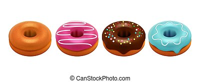 Sweet glazed donuts isolated on white background. Realistic donuts vector set