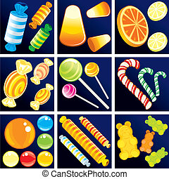 Sweet Goodies, include isolated vector candy cane, candy drop, bonbon, lollipop, gummy bears, jelly beans etc...