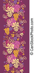 Sweet grape vines vertical seamless pattern background...