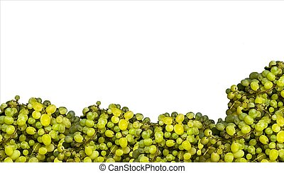 Sweet green grapes on a white background