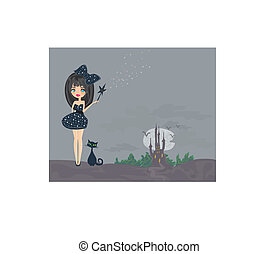 sweet Halloween witch and her cat