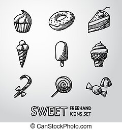 Sweet handdrawn icons set with - cupcake and donut, cake, ice creams, christmas candy, lollipop, candies. Vector illustration