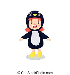 Sweet happy little girl in the costume of penguin, kid in...